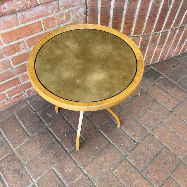 1960s Kipp Stewart for Drexel Round Leathertop End Table For Sale In Phoenix - Image 6 of 12