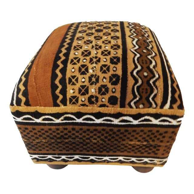 African Malian Mud Cloth Bogolan Textile Ottoman - Image 1 of 6