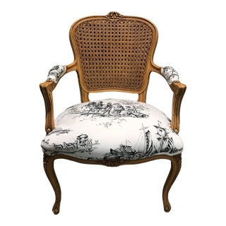 18th Century Cane Back Bergere Chair Toile Fabric For Sale