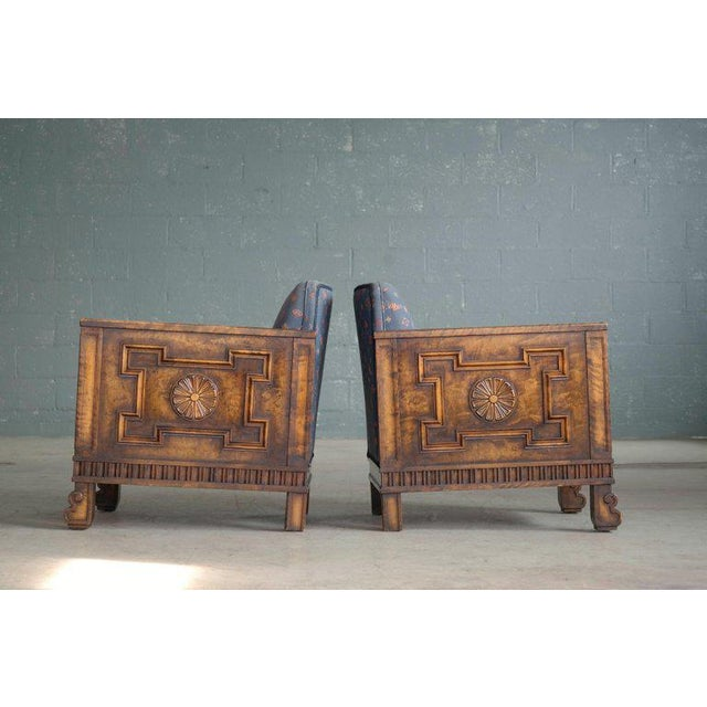 Birch Axel Einar Hjorth Flamed Birch Lounge or Club Chairs, Sweden, 1930s - a Pair For Sale - Image 7 of 13