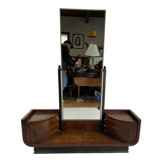 1930s Art Deco Donald Deskey for Widdicomb Carpathian Elm and Black Lacquer Vanity For Sale