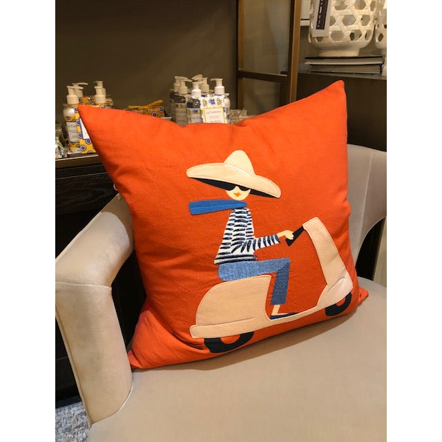 From the Rifle Paper Com , our Scooter Girl pillow will inspire you to go places. Fun bright orange color popes the blue...