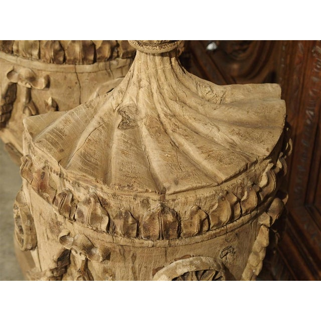 Pair of Neoclassical Style Carved Wooden Half Urns From England For Sale - Image 10 of 11
