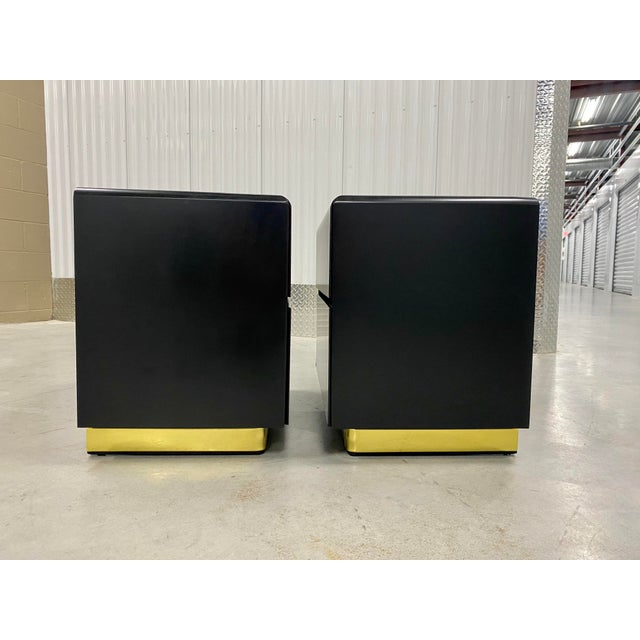 Lane Furniture Lane Black Lacquer & Brass Side Tables - a Pair For Sale - Image 4 of 8