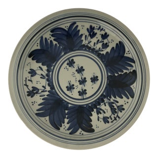 Large Blue and White Painted Platter For Sale
