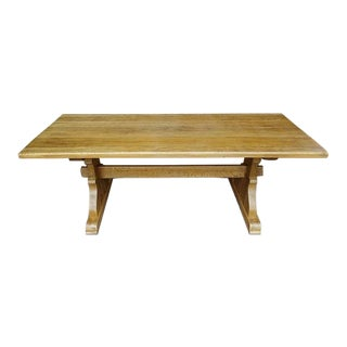 Vintage French Country Farmhouse Trestle Oak Dining Table