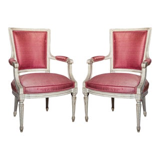 French Painted Armchairs by Jansen - A Pair For Sale