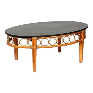 McGuire Gilt Metal Mounted Rattan and Granite Coffee Table For Sale