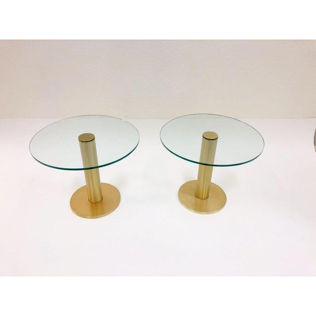 Art Deco Pace Collection Satin Brass and Glass Side Tables - a Pair For Sale - Image 3 of 7