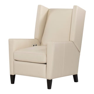 Century Furniture Gramercy Manual Recliner, Ivory Leather For Sale