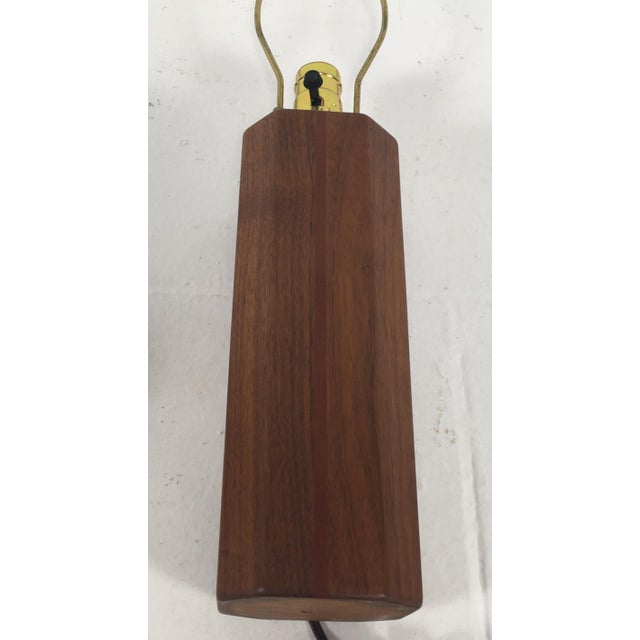1990s Hand Crafted Teak Lamps With Wood Shades - a Pair For Sale - Image 5 of 11