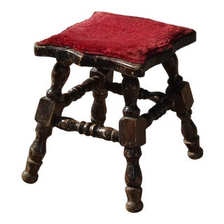 Vintage French Country Rustic Red Footstool Bench Farmhouse Chic For Sale