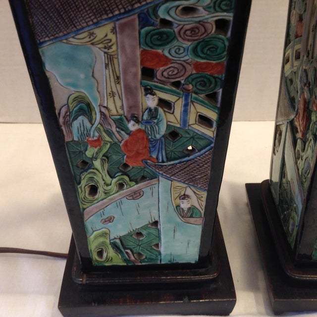 Metal Early 20th Century Famille Noire Chinese Lamps - a Pair For Sale - Image 7 of 13