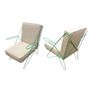 Raoul Guys Rarest Pair of Aqua Metal Chairs Newly Recovered in Canvas Cloth For Sale