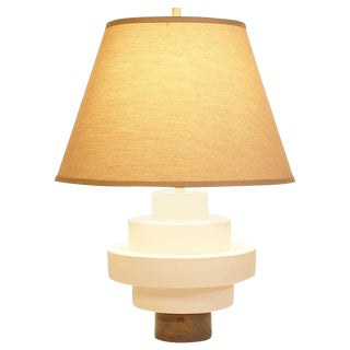 Porcelain and Wood Disc Table Lamp For Sale