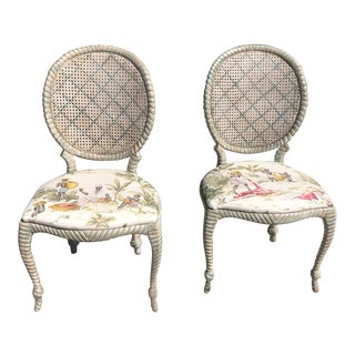 1970s Vintage Faux Bois Italian Rope Chairs - a Pair For Sale