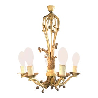 Hollywood Regency Balloon Shaped Chandelier, Metal Paint Decorated With 5 Arms For Sale