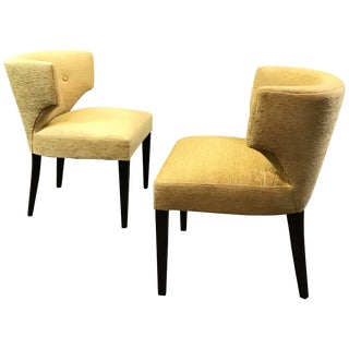 1950s Vintage Hollywood Regency Upholstered Klismos Slipper Chairs- A Pair For Sale