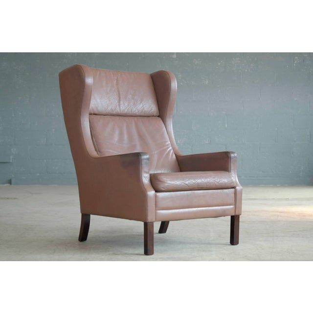 Georg Thams Wingback Chair in Cappuccino Colored Leather Borge Mogensen Style For Sale - Image 9 of 9