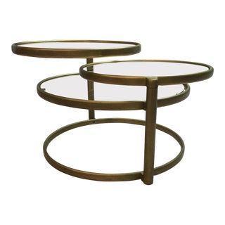Milo Baughman Style Double Swivel Coffee Table