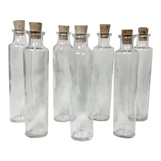 Glass Spice Jars with Cork Stoppers - Set of 7 For Sale