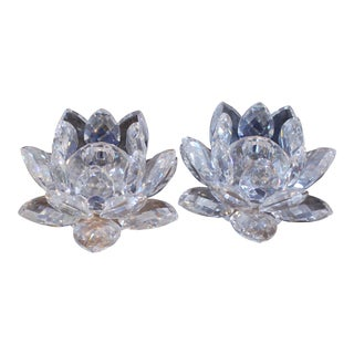 Swarovski Lotus Candle Holders - A Pair For Sale