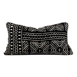 Boho Chic Black African Mudcloth Lumbar Pillow For Sale