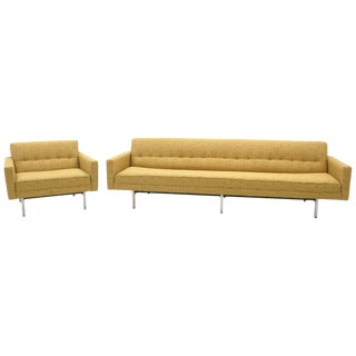 "George Nelson Modular Group Sofa & Chair in Nos Alexander Girard ""Lines"" Fabric For Sale"