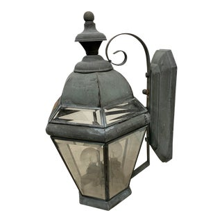 Vintage Verdigris Mid Century Copper Lantern For Sale