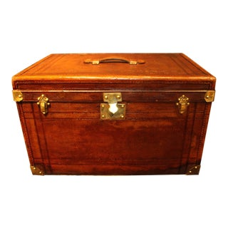 1930's French Brown Leather Rectangular Hat Trunk For Sale