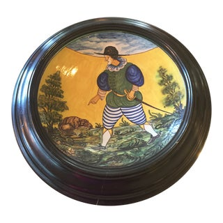 Antique Framed Hand Painted Large Bowl For Sale