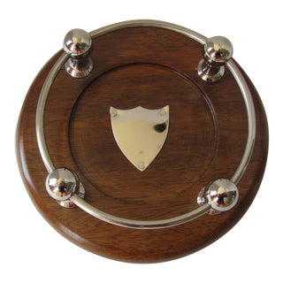 Wood & Chrome Wine Coaster For Sale