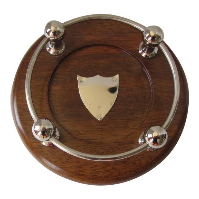 Wood & Chrome Wine Coaster For Sale