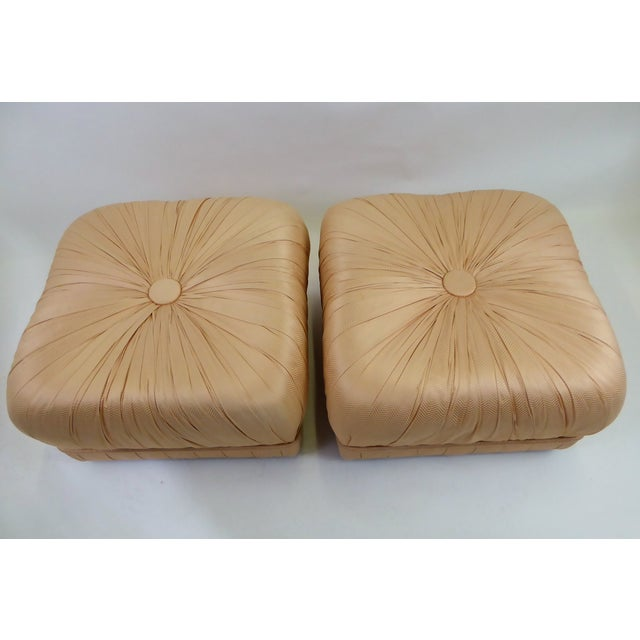 1970s Pair of Hollywood Glam Poufs on Casters 1970s For Sale - Image 5 of 11