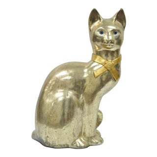 "Vintage 24"" Mid Century Cat Statue Silver Gold Ceramic Hollywood Regency Modern For Sale"