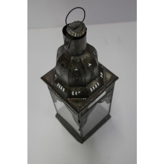 Brown Moroccan Moorish Square Metal and Clear Glass Candle Lantern For Sale - Image 8 of 13