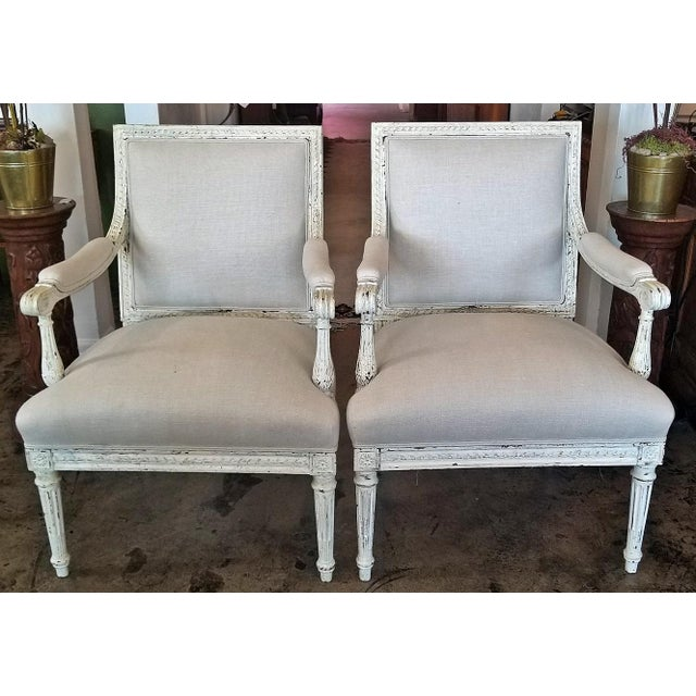 Stone Louis XVI Style Pair of Painted Armchairs For Sale - Image 7 of 12