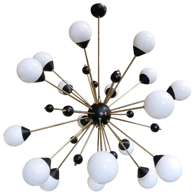 1960s Brass With White and Black Orbs Midcentury Sputnik Chandelier For Sale