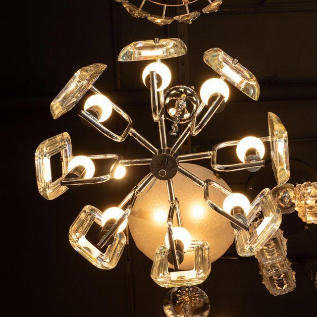 Chrome Mid-Century Modern Rectilinear Chrome and Iridescent Glass Eight-Arm Chandelier For Sale - Image 7 of 8