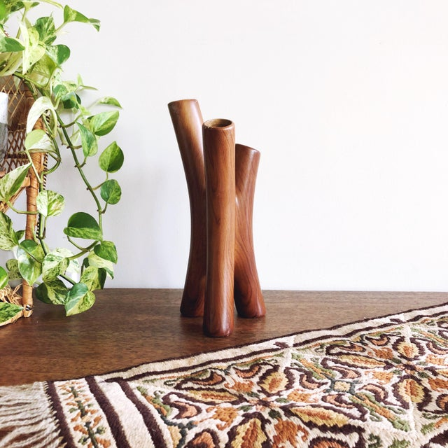 """Vintage organic modern ceramic vase painted to look like wood with 3 """"branches."""""""
