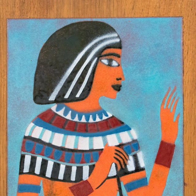 Blue Judith Daner Midcentury Enamel on Copper Artwork Wall Panel Egyptians, a Pair For Sale - Image 8 of 13