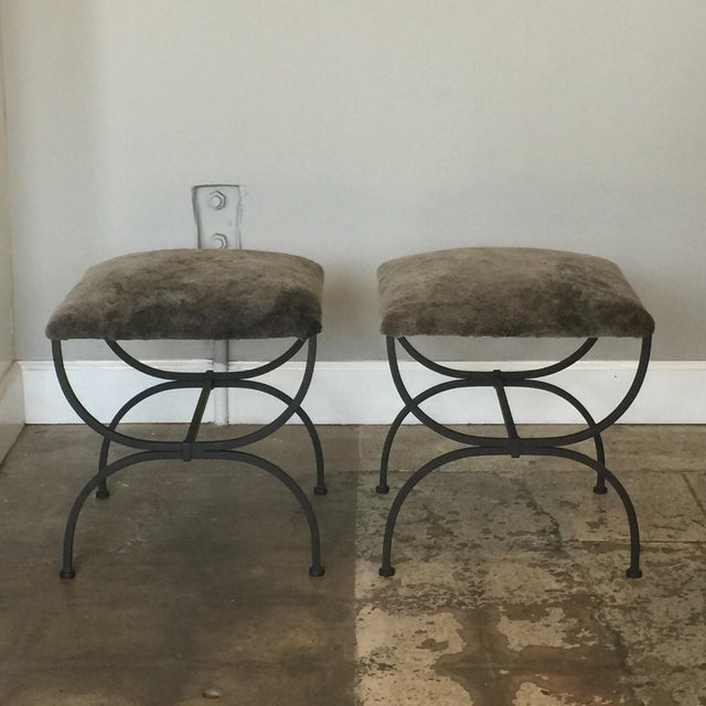 Gray Contemporary Design Frères Gray Shearling 'Strapontin' Stools - a Pair For Sale - Image 8 of 8