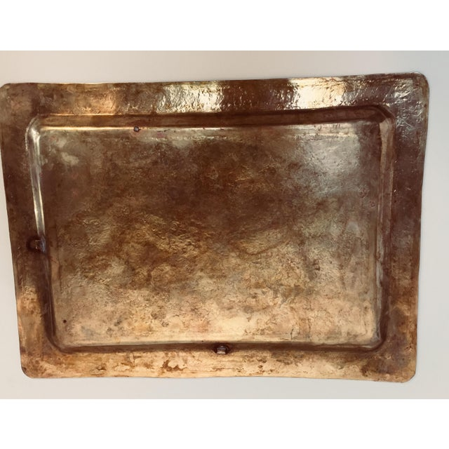 Spanish Moorish rectangular brass tray with fine delicate geometrical designs. Could be used as a serving tray, or wall...