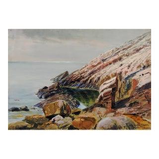 1907 Leopold Schwerin Swedish Coastal Scene Painting For Sale