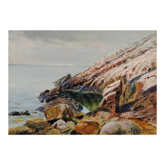 1907 Leopold Schwerin Swedish Coastal Scene Painting - Image 1 of 4