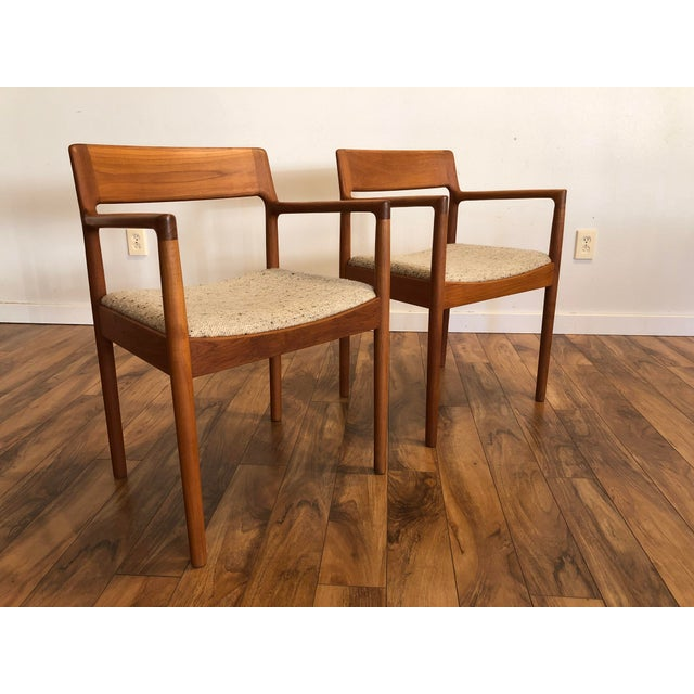 Mid-Century Norgaard Teak Arm Chairs, Made in Denmark, a Pair For Sale - Image 10 of 13
