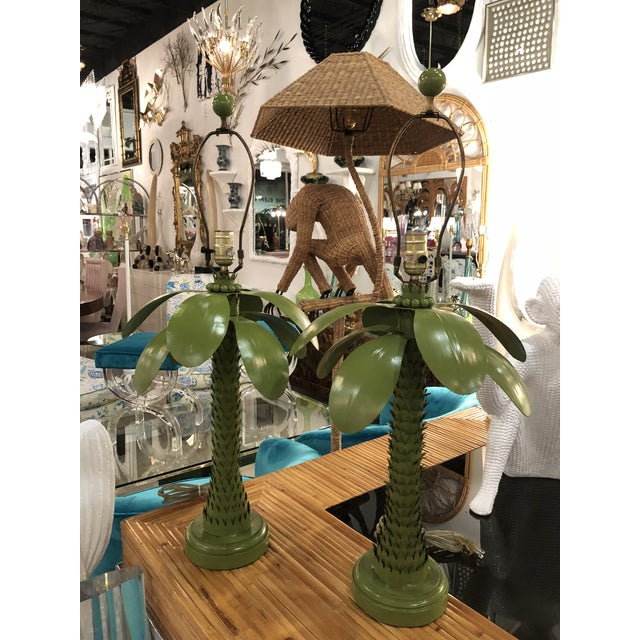 Vintage Tropical Green Metal Tole Palm Leaves Leaf Tree Table Lamps - a Pair For Sale - Image 13 of 13