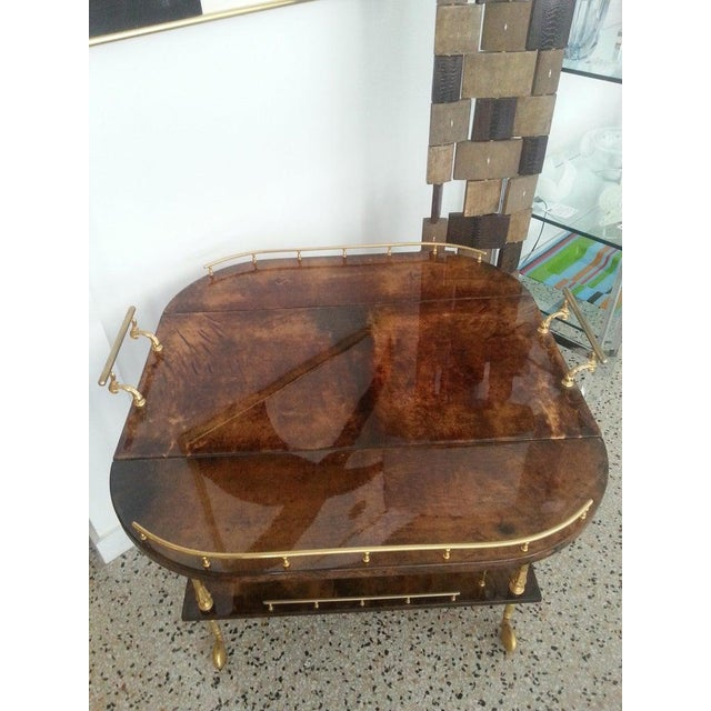Mid-Century Modern Mid-Century Modern Bar Cart in Lacquered Goatskin and Gold Plate by Aldo Tura For Sale - Image 3 of 13