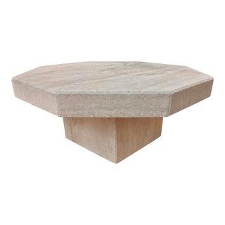 Organic Modern Geometric Travertine Display Table For Sale
