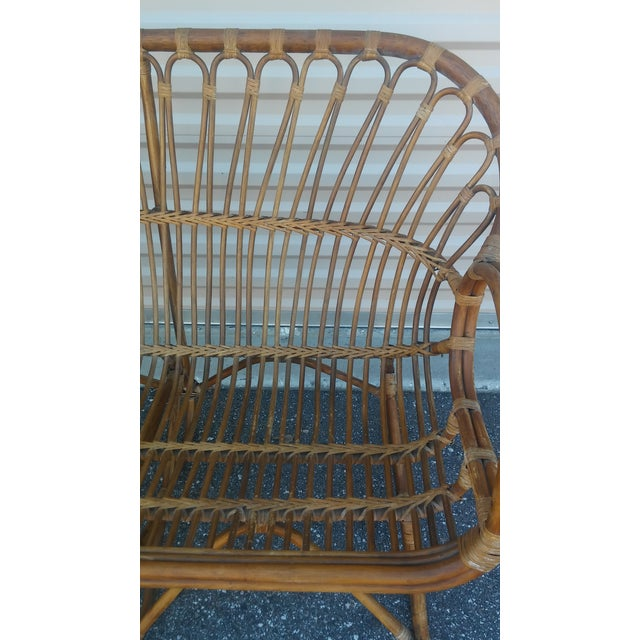 1960s Vintage Franco Albini Rattan Loveseat and Chair - a Pair For Sale - Image 5 of 13